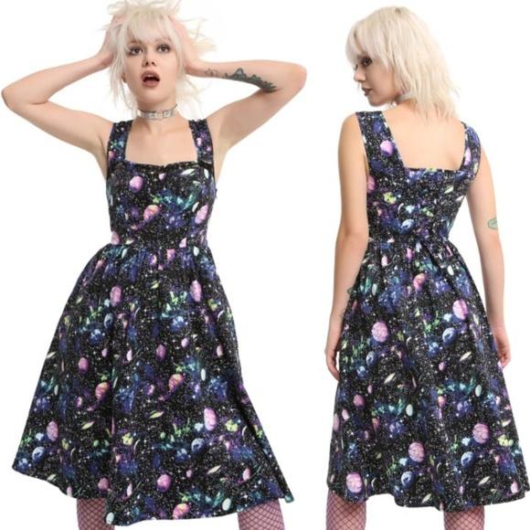 Hot Topic Dresses & Skirts - Hot Topic Planets Galaxy Black Fit Flare Dress L